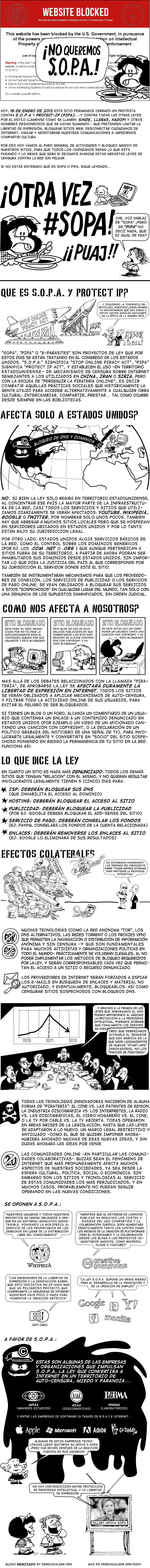 Tira de dibujos (con Mafalda y sus amigos) explicando las consecuencias de la aprobación de SOPA y PIPA
