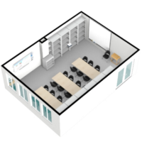 Reconstrucción del aula de formación creada con Floorplanner