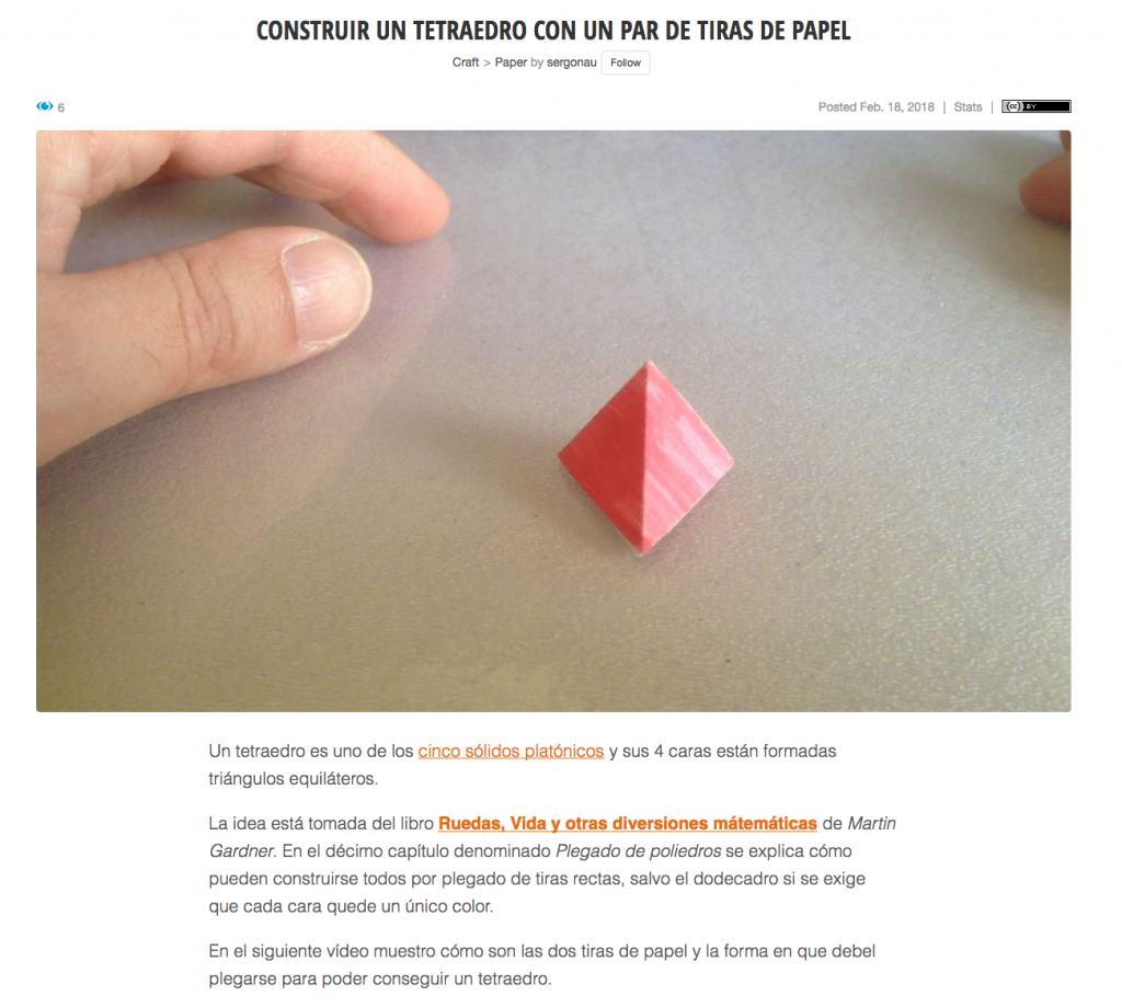 Captura del tutorial en Instructables